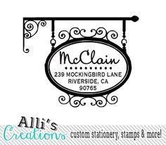 Return address stamp self-inking custom hanging sign stamp with script font $31.95