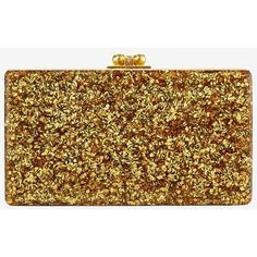 Edie Parker Jean Box Clutch: Silver/Gold Glitter ($1,195) ❤ liked on Polyvore featuring bags, handbags, clutches, multi, silver clutches, kisslock handbags, hard clutch, glitter purse and silver handbag