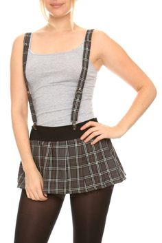 skirts for women Suspenders For Women, Suspender Skirt, Skater Skirt, Mini Skirts, Plaid, Grey, Accessories, Clothes, Shoes