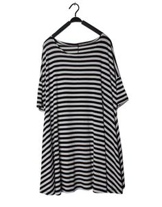 Black And White Striped Round Neck Short Sleeve Loose Mini Dress