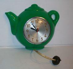 1950's Art Deco Sessions Teapot Green Electric Wall Clock