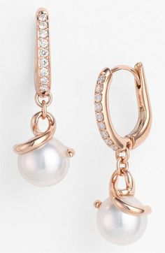 Mikimoto Akyoka Cultured Pearl & Diamond Earrings available at #Nordstrom