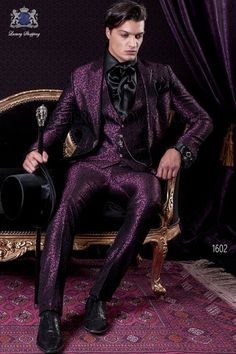 Baroque short tail slim fit groom suit in purple damasked