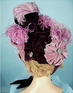 1893 ___ Women's Bonnet ___ Purple Velvet, Purple Ostrich Feathers, Lighter Purple Velvet Ribbons, Steel Cut Ornaments and Purple Velvet Ties ___ Mme. Howard, Boston ___ photo 4