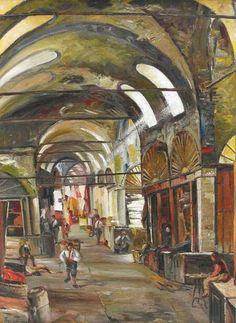 Grandbazaar by Turkish Painter Sevket Dag Turkish Art, Grand Bazaar, Istanbul Turkey, Oriental, Watercolor, Paris, Paintings, Google, Pen And Wash