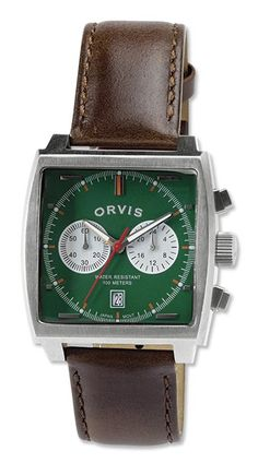 This eye-catching, Art Deco-inspired square chronograph wristwatch, with its orange-accented bold Orvis Green face and a brown leather band, stands out from the crowd. 35mm stainless case, water resistant to 328 feet, mineral crystal, Japanese Miyota movement. Time to add a new aesthetic to your wrist. In green. Personalize with engraving, up to 3 letters. Allow 2 extra days for delivery. Imported.
