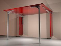 Mesa de cocina de pared, abatible, hecha con escuadras abatibles M7 y Patas Abatibles PA, abierta