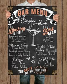 Custom bar chalkboard sign chalkboard by HLFullerProductions - for listing signature drinks!