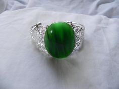 Green Cat's Eye Cabochon Cuff Bracelet by FabuLushLadies on Etsy, $20.00