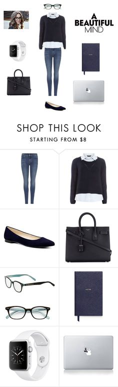 """Professional Aesthetic Outfit"" by bluejasmine360 ❤ liked on Polyvore featuring 7 For All Mankind, Dorothy Perkins, Nine West, Yves Saint Laurent, Kate Spade, Smythson and Vinyl Revolution"