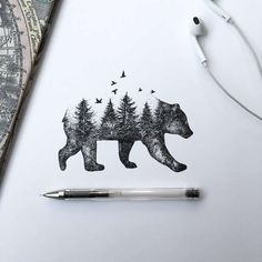 Beautiful Bear/Forest Tattoo Idea Artist- Alfred Basha I love this but with a be… Wunderschöner Bär / Wald Tattoo Idea Artist – Alfred Basha Ich liebe dies aber mit einer Strandszene Natur Tattoos, Kunst Tattoos, Cute Tattoos, Body Art Tattoos, Tatoos, Sleeve Tattoos, Xoil Tattoos, Thigh Tattoos, Awesome Tattoos