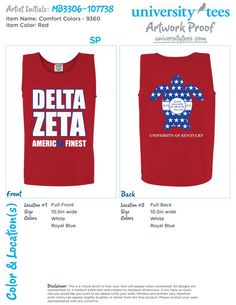 Universitytees.com > Order your items for American Delta Zeta Tanks project