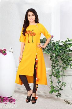 Kurtis & Kurtas Women's Printed Yellow Cotton Kurti Fabric: Cotton Sleeves:  Sleeves Are Included  Size: M - 38 in L - 40 in XL - 42 in Length: Up To 48 in Type: Stitched Description: It Has 1 Piece Of Women's Kurtis Work: Printed Country of Origin: India Sizes Available: M, L, XL, XXL   Catalog Rating: ★4 (486)  Catalog Name: Women'S Printed Cotton Kurtis CatalogID_398421 C74-SC1001 Code: 053-2925426-948