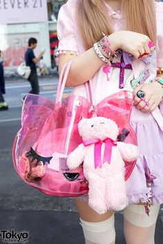 Pink vinyl purse & stuffed bear #DOLLSKILL
