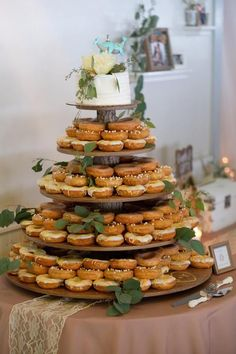 Rustic Cupcake Stand 5 Tier (Tower Holder) 120 Cupcakes 250 Donuts for Wedding, Birthday, Shower, An Wood Cupcake Stand, Rustic Cupcake Stands, Rustic Cupcakes, Small Cupcakes, Donut Wedding Cake, Wedding Donuts, Fall Wedding Cupcakes, Wedding Cake Display, Cupcake Stand Wedding