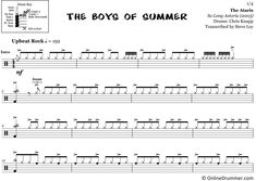 "The full drum sheet music for ""The Boys of Summer"" by The Ataris from the album So Long Astoria Drum Sheet Music, Drums Sheet, Drum Key, Music Stand, Snare Drum, Ready To Play, Your Music, You Are Awesome, Billboard"