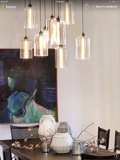 Cylinder shaped pendants Cylinder Shape, Interior Ideas, Chandelier, Pendants, Ceiling Lights, Shapes, Lighting, Casual, Home Decor