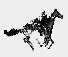 collage, caballo, figura-fondo
