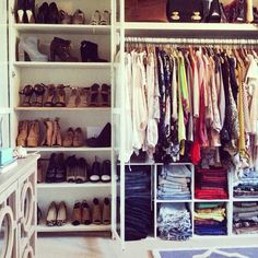 """My walk-in closet in my LA apt. Currently featuring my spring/summer wardrobe."" [via Song of Style] Closet Bedroom, Closet Space, Walk In Closet, Closet Redo, Master Closet, Huge Closet, Loft Closet, Tiny Closet, First Apartment"