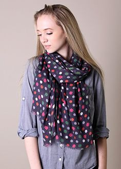 Anika Dali Women's Polka Dot Scarf (Aubrey Multicolor Purple) at Amazon Women's Clothing store: Fashion Scarves