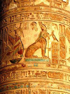Frieze on a temple pillar - Egypt