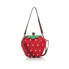 Pepaloves Strawberry bag ($78) ❤ liked on Polyvore featuring bags, handbags, shoulder bags, hand bags, white shoulder bag, summer straw handbags, shoulder handbags and purse shoulder bag