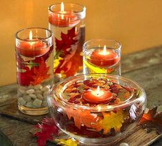 After you plan your Thanksgiving Menu, maybe it's time to start considering table decorations. Beautiful turkeys look better besides some sweet Thanksgiving centerpieces. Floating Candle Centerpieces, Centerpiece Decorations, Hanging Candles, Fall Decorations, Thanksgiving Centerpieces, Thanksgiving Crafts, Thanksgiving Table, Thanksgiving Celebration, Vintage Thanksgiving