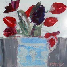 Mhairi McGregor RSW Mixed Flowers , 2014  oil on board  25 x 25 cm