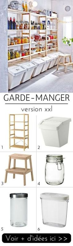 5 Idées de Garde-Manger Pratiques & Tendance à Copier ! Ikea Storage, Garage Storage, Storage Ideas, Food Storage, Craft Storage, Bin Storage, Storage Solutions, Basement Storage, Diy Garage