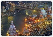 These four sites in  Ujjain, Haridwar, Nasik and Allahabad  are  the seats of the  Kumbha Mela, celebrated once every 3 years in any of the mentioned places and once in every twelve years, the historic Maha Kumbha Mela  at Prayag in Allahabad.