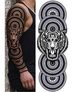 Full Arm Tattoos, Leg Tattoos, Tribal Tattoos, Sleeve Tattoos, Tiger Design, Tiger Tattoodesign, Polynesian Tattoo Sleeve, Tattoo Studio, Tiger Artwork