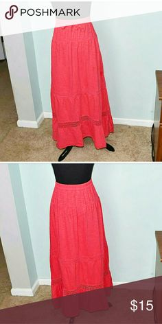 Adorable Orange Flowy Maxi Skirt In excellent condition! Very comfortable, stretchy, and lightweight! Super flowy and very flattering as well! Buy 3 items and get 1 free plus 15% off your purchase total! Skirts Maxi