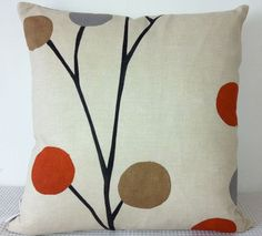 Floral retro burnt orange, grey and black cushion Cover, contemporary designer fabric slip cover Orange Cushions, Black Cushions, Throw Cushions, Orange Grey, Burnt Orange, Brown And Grey, Gray, Living Room Color Schemes, Colour Schemes