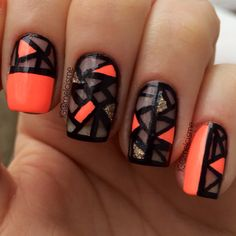 Neon negative space / mosaic / stained glass nail art by @melcisme on Instagram
