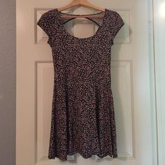 American Eagle sundress Black and pink floral sundress, cap sleeves, triangle cut out in back, like new American Eagle Outfitters Dresses
