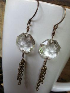 Repurposed Chandelier Crystal Earrings. $20.00, via Etsy.