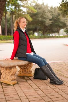 j crew red cable knit sweater // black puffer vest // jeans // boots // kate spade bag