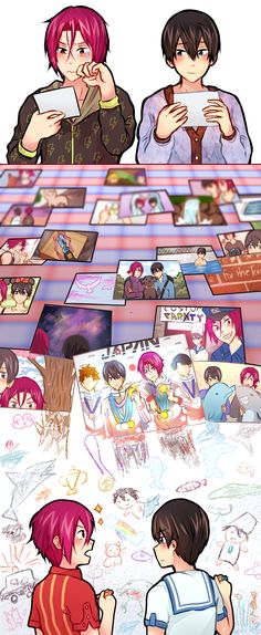Past to future ... Drawn by sexuallyfrustratedshark ... Free! - Iwatobi Swim Club, free!, iwatobi, haruka nanase, haru nanase, haru, haruka, nanase, rin, matsuoka, rin matsuoka