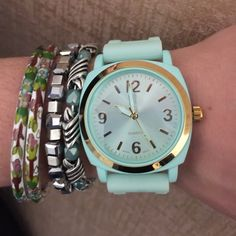 """ANTHROPOLOGIE Viscid Watch Rubber Mint ANTHROPOLOGIE Viscid Watch Rubber Mint. 9"""" X 1.5"""". New in packaging. Mint with Gold. Bracelets shown for styling only. Anthropologie Accessories Watches"""