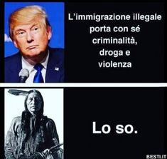 L'immigrazione illegale porta con.. | BESTI.it - immagini divertenti, foto, barzellette, video Donald Trump, Beatiful People, Trump You, Im Stupid, Famous Words, Me Too Meme, The Real World, Vignettes, Memes