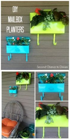 Second Chance to Dream: DIY Mailbox Planters #diygarden #gardening #upcycledproject