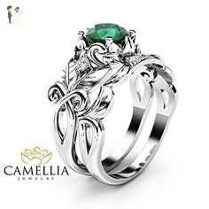 Natural Emerald Leaf Engagement Ring Set 14K White Gold Ring with Matching Band - Wedding and engagement rings (*Amazon Partner-Link)