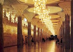 At Tashkent Metro, the Mustaqilik Maidoni Station. Built in 1977. This is the most beautifully decorated metro in the Societ Union. It has marble columns and carved alabaster, and was influenced by Islam design.