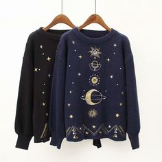 Sweaters for ladies Fall Women Fashion Sweater Moon Star Embroidery Knitting Sweaters O-Neck Winter Warm Pullover Sweater Casual Girls Tops Sweater Women Sweaters - - Loose Sweater, Sweater Shop, Winter Sweaters, Sweaters For Women, Streetwear, Pullover Sweaters, Knitting Sweaters, Women's Sweaters, Casual