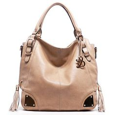 Beige faux leather handbag with side tassel accents