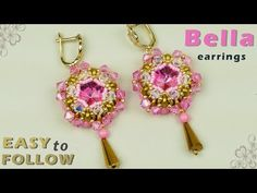 DIY Beaded earrings with 14 mm rivolis tutorial. Materials you will need: Rivoli 14 mm - 1 pair Superduo - 60 pcs 4 mm bicones pcs 4 mm round beads pcs 15 size seed beads 11 size seed beads teardrop - 1 pair beading needle - size 12 beading thread Seed Bead Bracelets Diy, Seed Bead Earrings, Beaded Earrings, Seed Beads, Beaded Bracelets, Beaded Necklace Patterns, Beaded Jewelry Designs, Jewelry Patterns, Beaded Jewellery