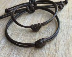 Pulsera de nudo simple, encerado marrón cable de pulseras su pulsera, pulseras de parejas, WC001402 impermeable