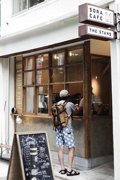 Kaffeeecke (via: Sora Cafe) - Small Coffee Shop, Coffee Store, Coffee Cafe, Coffee Shop Japan, Coffee Drinks, Cafe Shop Design, Cafe Interior Design, Store Design, Small Cafe Design