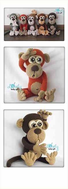 Crochet Monkey Amigurumi Pattern by Lovely Baby Gift, häkelanleitung, haakpatroon, hæklet mønster, modèle crochet Crochet Animal Amigurumi, Amigurumi Patterns, Amigurumi Doll, Crochet Animals, Crochet Dolls, Crochet Elephant, Amigurumi Tutorial, Tutorial Crochet, Crochet Diy