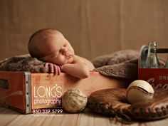 Tallahassee baby and family photographer, Linda Long of Long's Photography, creates an american classic using newborn baby boy, Coca-Cola and Baseball!